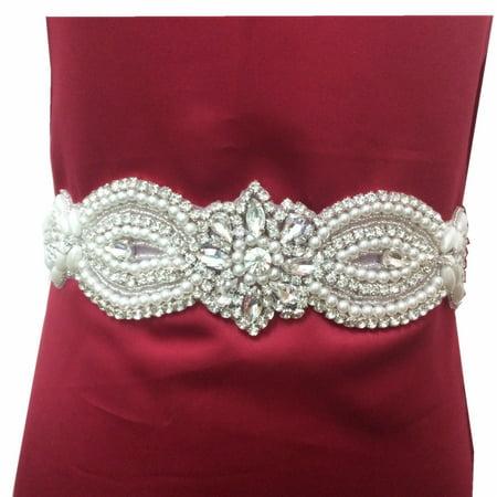 YZEO Wedding Dress Belt Sash - Crystal Beaded Bridal Belt Sash ...
