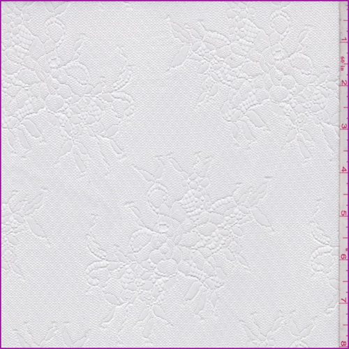 White Polyester Floral Bouquet Lace, Fabric By the Yard