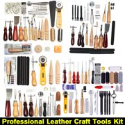 61 Pcs Professional Leather Craft Tools Kit Hand Sewing Stitching Leather Stamping Punch Working Saddle Groover