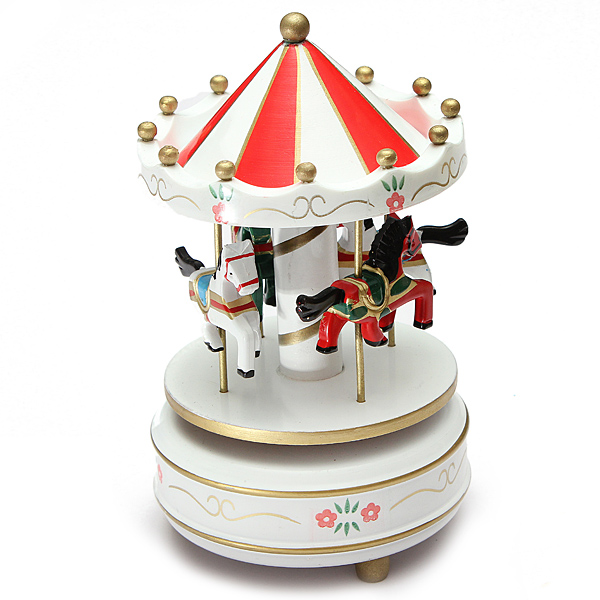 Kids Funny Wooden Merry-Go-Round Musical Box 4-Horse Figurine Rotating Carousel Music Box with Tune Castle Toy Collection Set Festive Home Decoration Birthday Present for Children