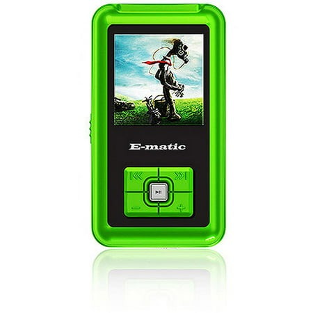 "Ematic 4GB Built-in Flash MP3 Video Player with 1.5"" Screen, Green"