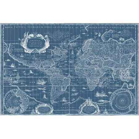 Blueprint world map canvas art willem blaeu 24 x 36 walmart blueprint world map canvas art willem blaeu 24 x 36 gumiabroncs Images
