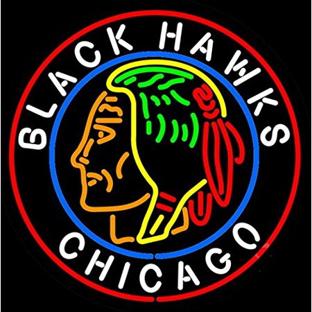 Desung Brand New Chicago Blackhawks Logo Neon Sign Handcrafted Real Glass Beer Bar Pub Man Cave Sports Neon Light 24