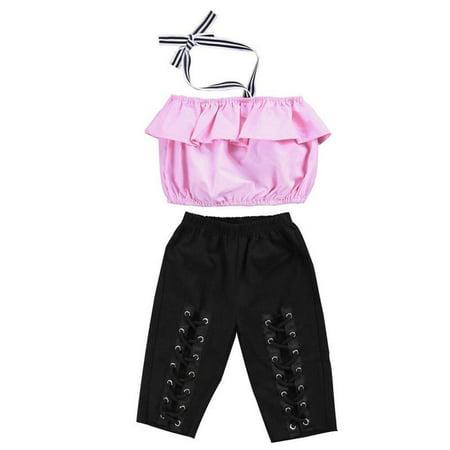Infant Kids Girl Halter Pink Crop Top Criss Bandage Hole Legging Pant Clothes
