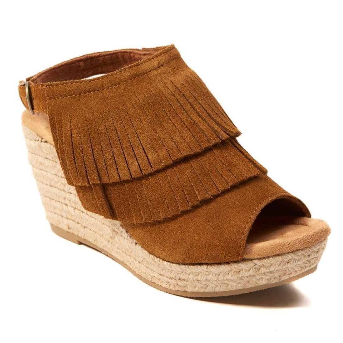 Minnetonka Ashley Suede Double Fringe Wedge Sandal 520-488 by