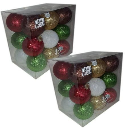 Martha Stewart Everyday 18 Shatter Proof Ornaments Set of 2 Gift Bundle