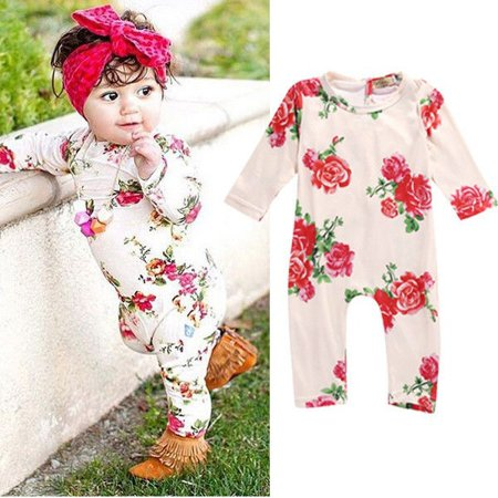 Infant Baby Girl Kid Floral Long Sleeve Bodysuit Romper Jumpsuit Outfits Clothes