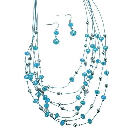 Aqua Beaded Seven-Row Illusion Necklace Set ()