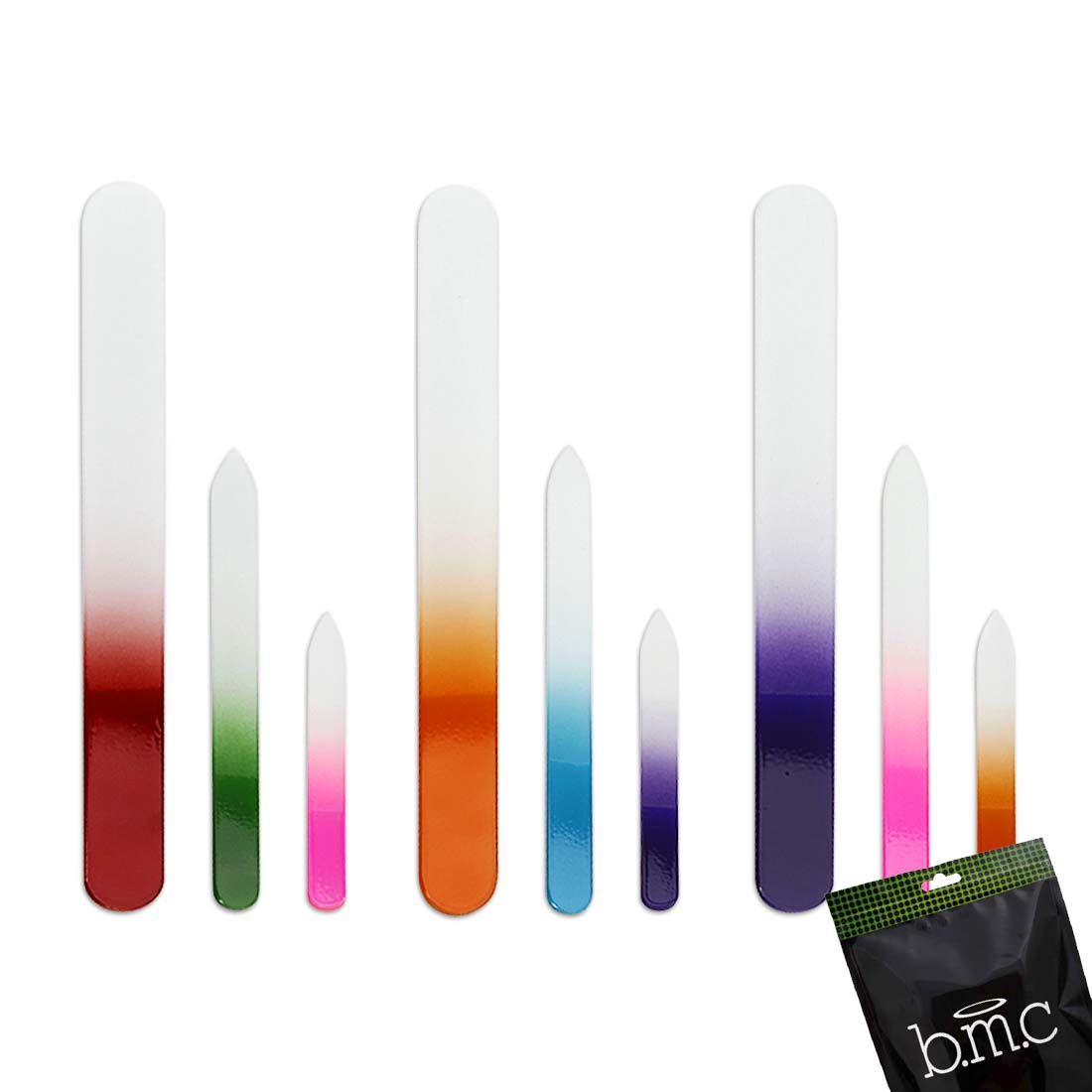 BMC 9pc Assorted Sized Mix Ombre Colored Glass Manicure Nail Buffer File Set