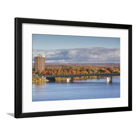 Canada, Quebec, Hull-Gatineau, high-rise and Macdonald Cartier Bridge from Ottawa, Ontario, autumn Framed Print Wall Art By Walter Bibikow (Herren Cartier Frames)
