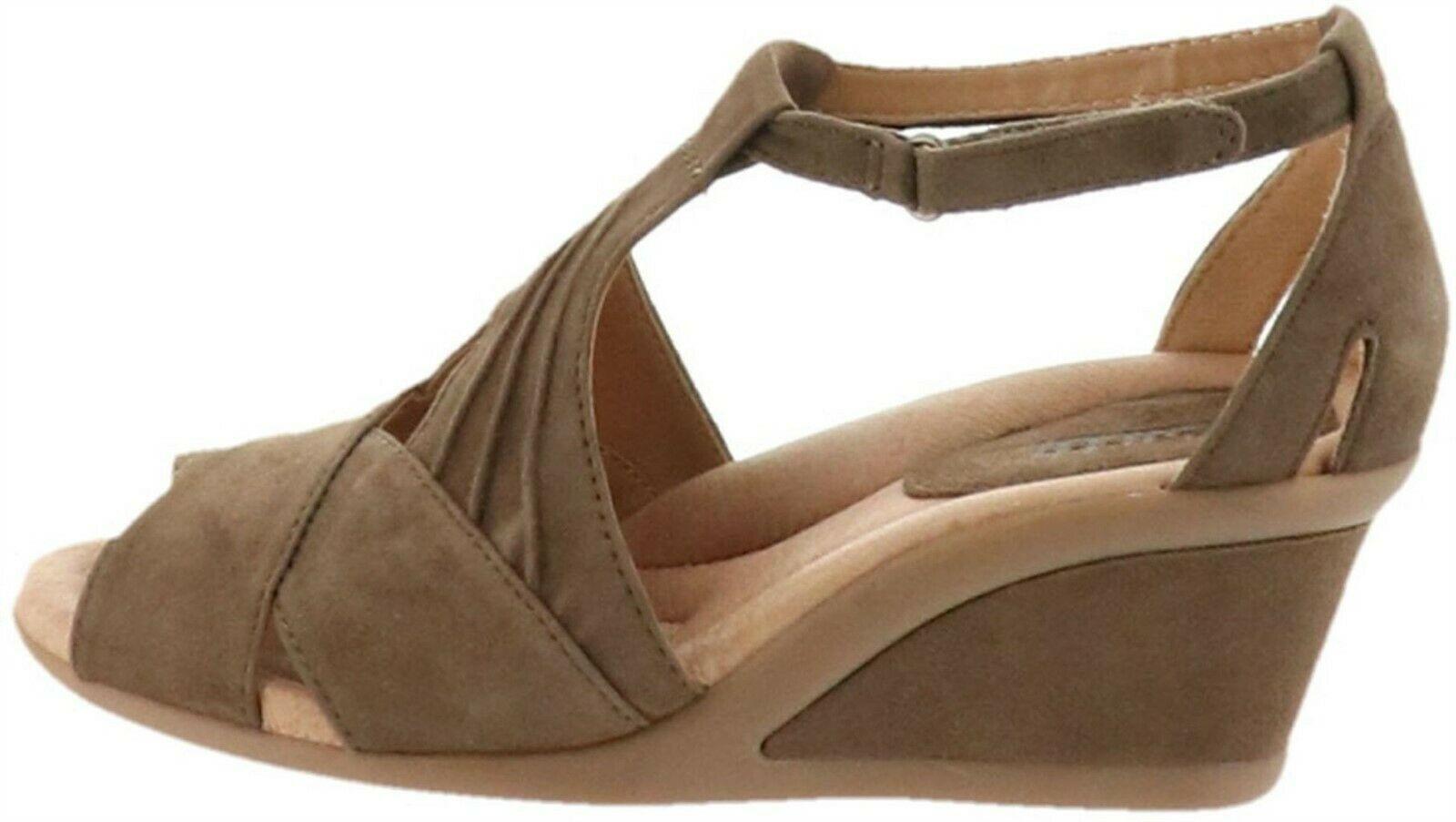 Earth Suede Peep-Toe Wedge Sandals