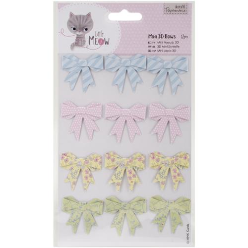 Papermania Little Meow Mini 3D Bows 12/Pkg