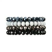 Riah Fashion Four Line Crystal Beads Stretch Bracelet