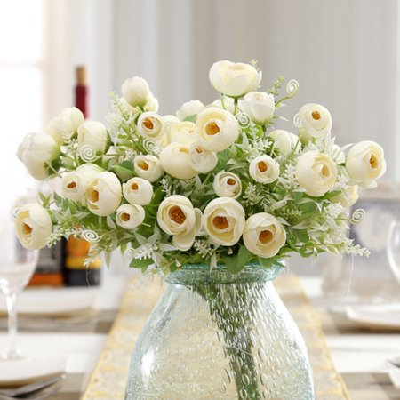 Holiday Clearance Artificial Flowers Camellia Roses 35cm 10 Heads Real Looking Fake Roses DIY Wedding Bouquets Centerpieces Arrangements Party Baby Shower Party Home Decorations