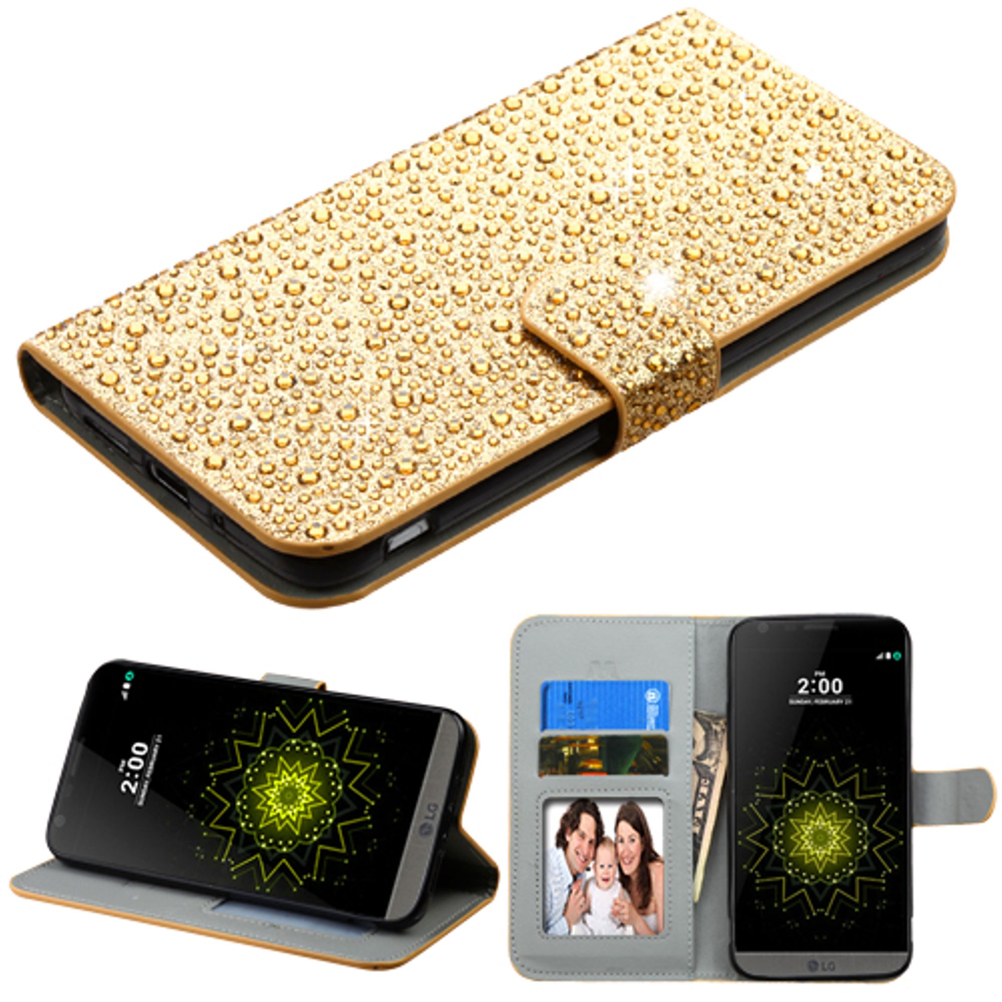 Insten Flip Leather Wallet Bling Case with Stand & Card slot For LG G5 - Gold