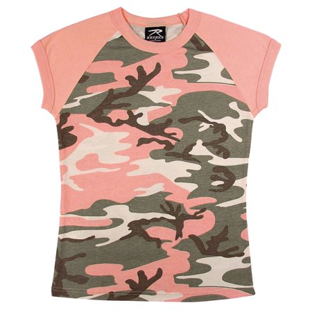 Women's Subdued Pink Camo Short Sleeve Raglan (Pink Rayban)