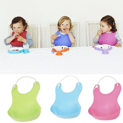 2 Pack Soft Bib Baby Infant Cute Silicone Waterproof Lunch Bib Rinse and Roll Super
