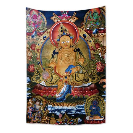 Yellow Zambala Tibetan Thangka tapestry cloth poster - image 1 de 1