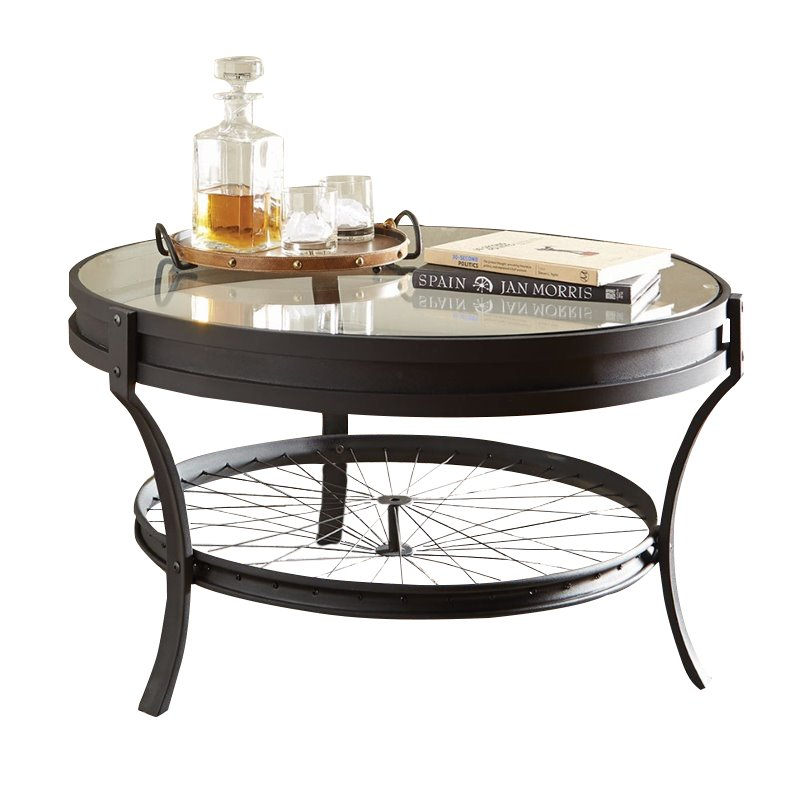 Bowery Hill Round Glass Top Coffee Table in Sandy Black