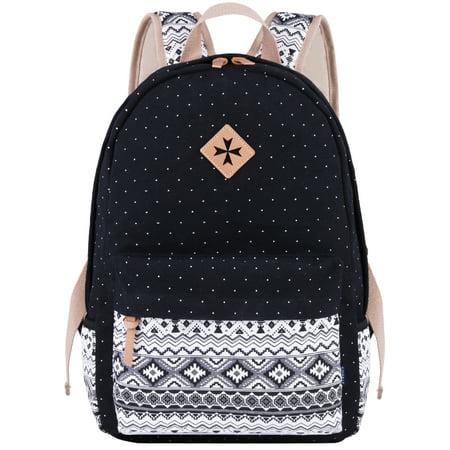 Unisex Boys Girls Backpack Polka Dot Canvas Backpack School Bookpack Casual Travel Work Bag Pack Rucksack Creative Birthday Chirstmas Gift for Women Men