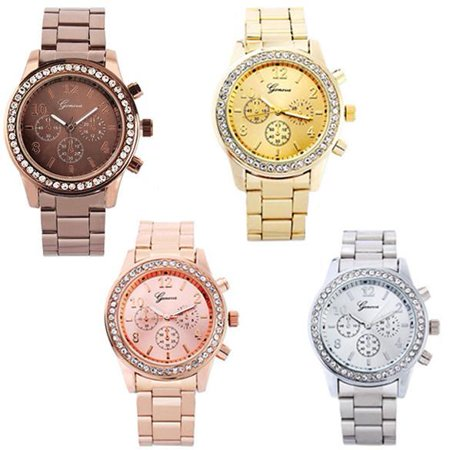 Set Stainless Steel Wrist Watch (Stylish Watch Ladies Women Girl Unisex Stainless Steel Analog Quartz Wrist Watch KMIMT )