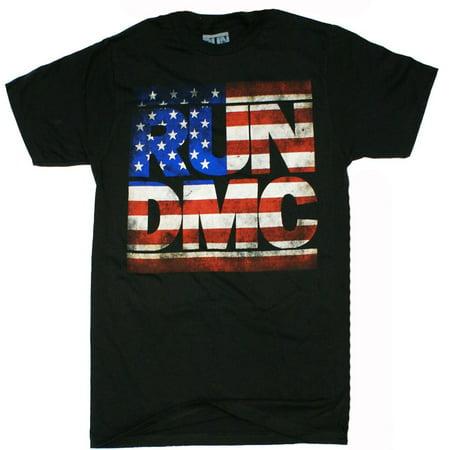 Run DMC - Distressed American Logo Adult T-Shirt (Run Dmc Outfit)