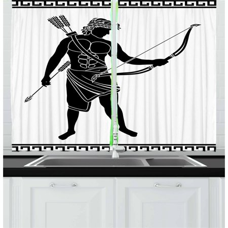 Toga Party Curtains 2 Panels Set, Hellenic Bowman Silhouette Eros Fantasy Gladiator Old Mediterranean Print, Window Drapes for Living Room Bedroom, 55W X 39L Inches, Black and White, by Ambesonne