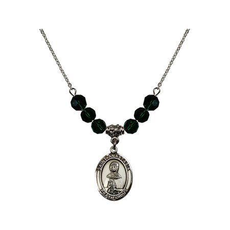 - 18-Inch Rhodium Plated Necklace with 6mm Green May Birth Month Stone Beads and Saint Anastasia Charm