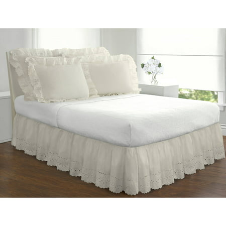 Full White Bedskirt (Fresh Ideas Ruffles Eyelet Collection, bed skirts and shams sold separately)