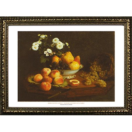 FRAMED Flowers And Fruit On A Table by Henri Fantin-Latour 22x28 Art Print Poster Famous Painting Still Life Floral Fruit Bowl From Museum of Fine Arts Boston Collection