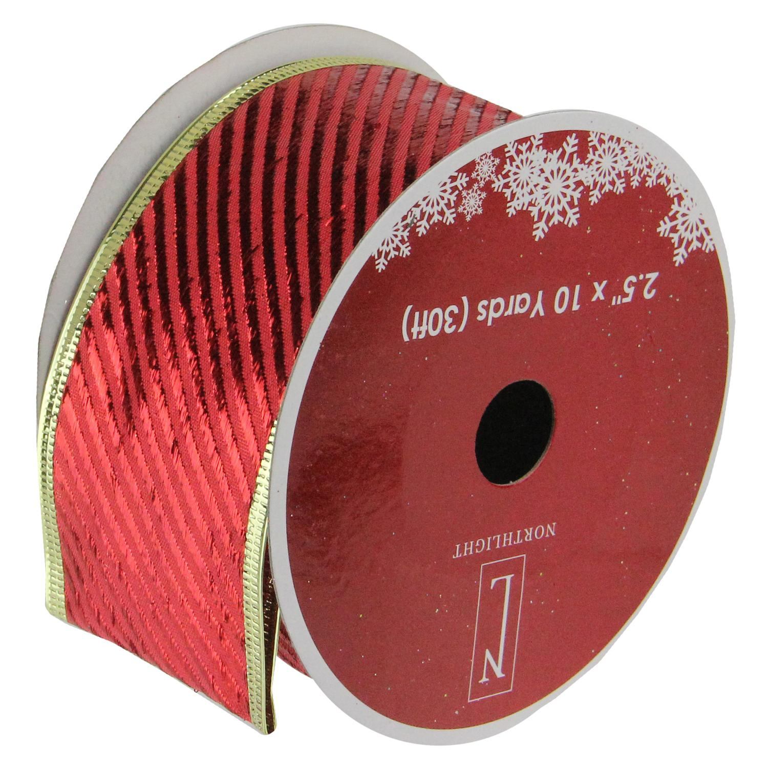 """Shiny Red Diagonal Striped Gold Wired Christmas Craft Ribbon 2.5"""" x 10 Yards"""