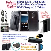 """Value Pack Cables + for 5.5"""" ZTE Blade Spark ZMAX ONE Grand X4 case Screen Protector Phone Case 360° Cover Clip Holster Kickstand Shock Bumper Black Brushed"""