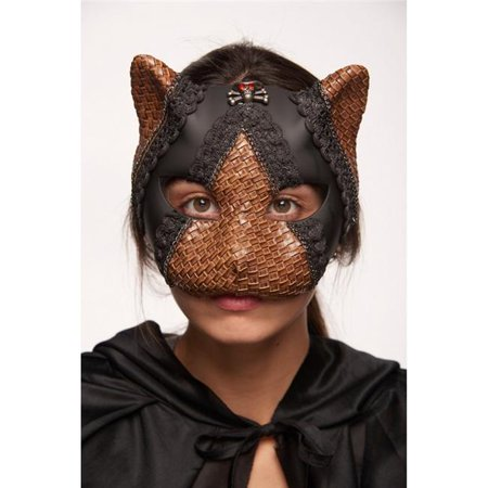Kayso SPM016BK Black Cat Steampunk Mask with Skull & Red Eyes (Red And Black Halloween Eyes)