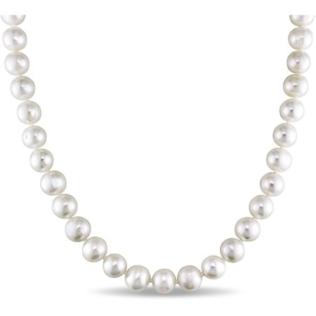 7.5-8mm White Freshwater Cultured Pearl Sterling Silver Strand Necklace, (Honora Strand Necklace)