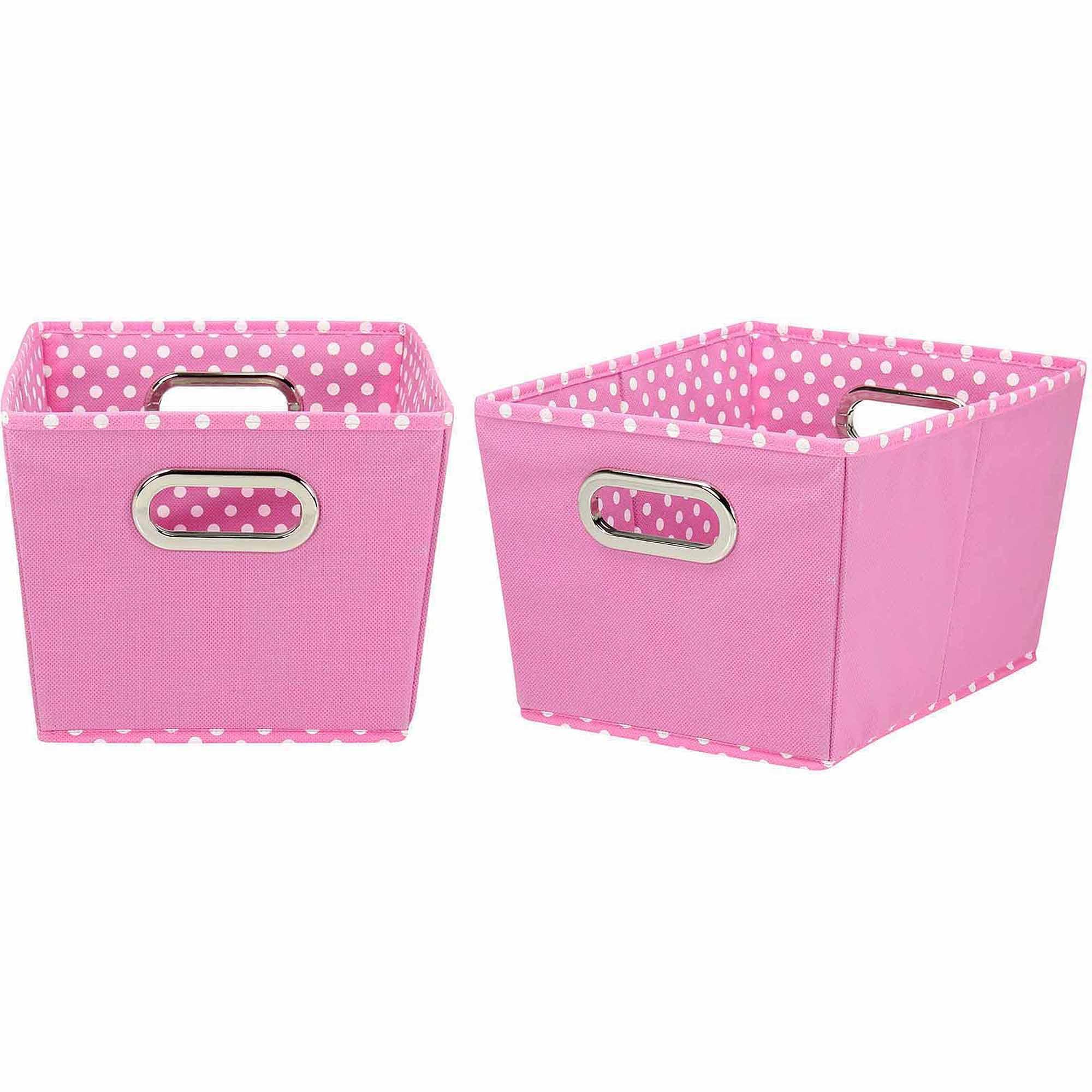 Household Essentials Small Decorative Storage Bins, 2pk, Pink and Mini Dot