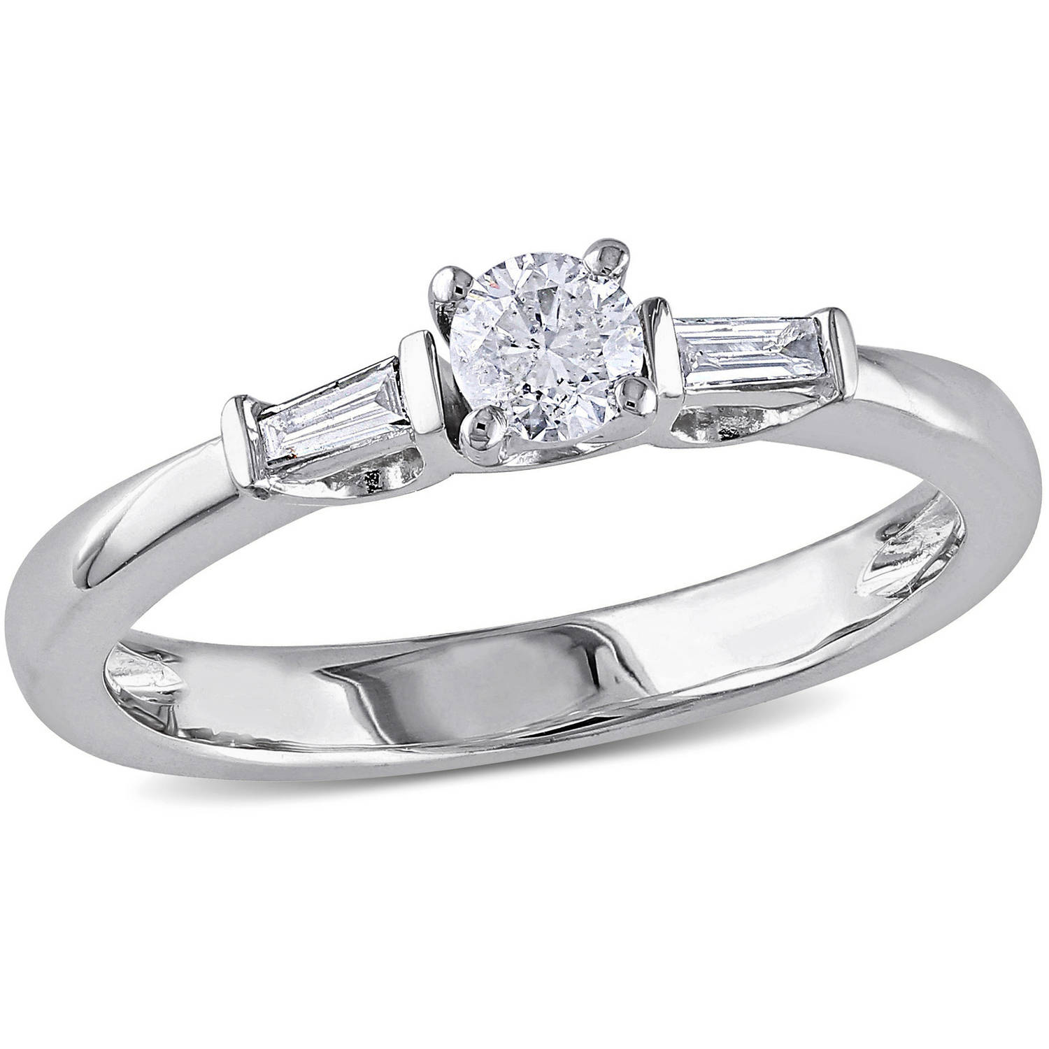 1 3 Carat T W Round and Tapered Baguette Cut Diamond Engagement