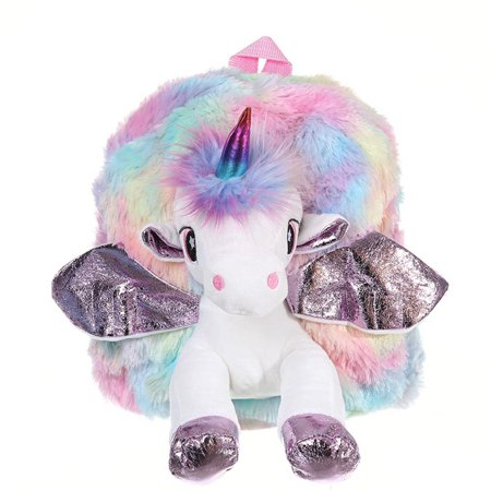 TURNTABLE LAB Childs Girls Unicorn with Plush Wing Backpack Kids School Rucksack Bag