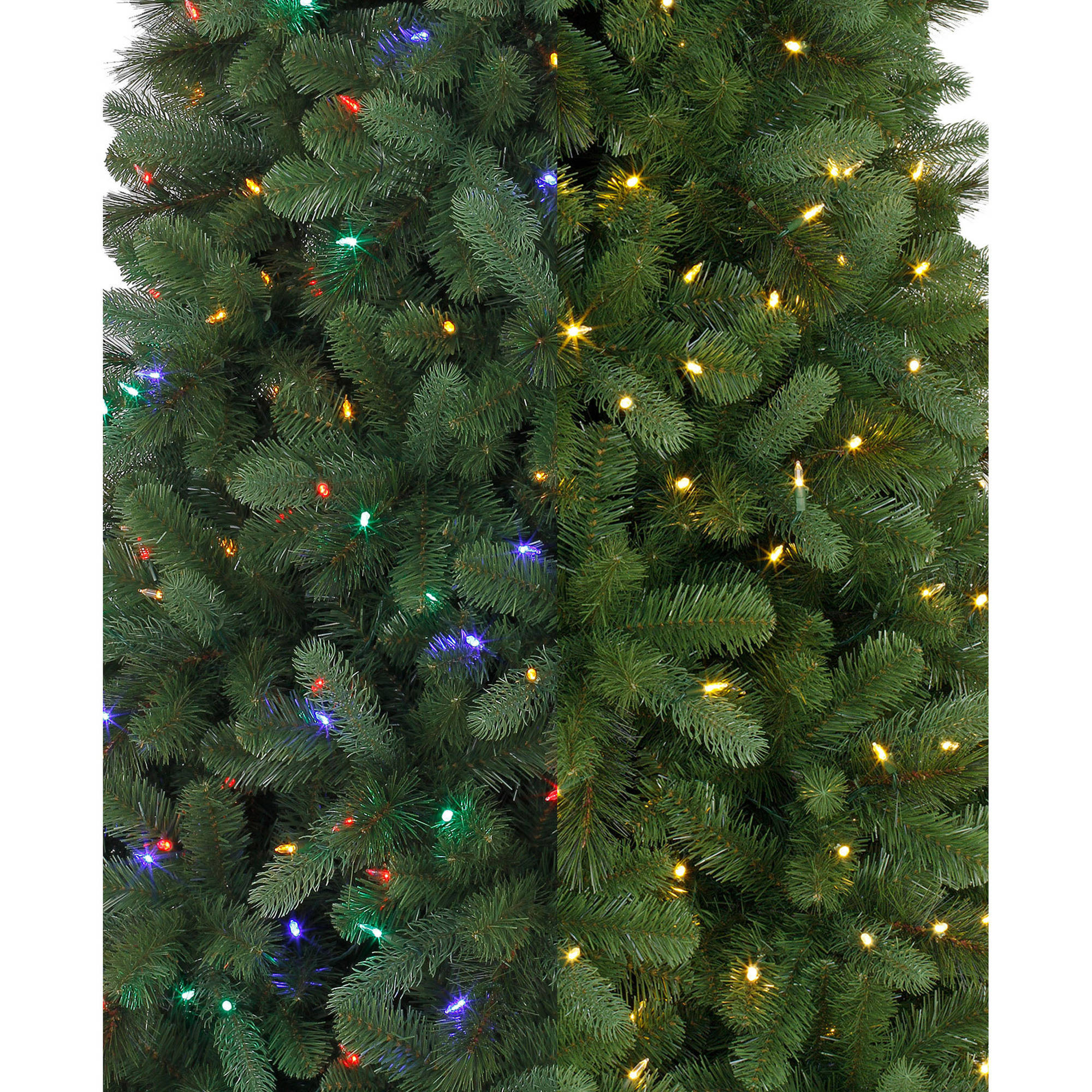 holiday time prelit 75u0027 norwich spruce artificial christmas tree green color changing lights walmartcom