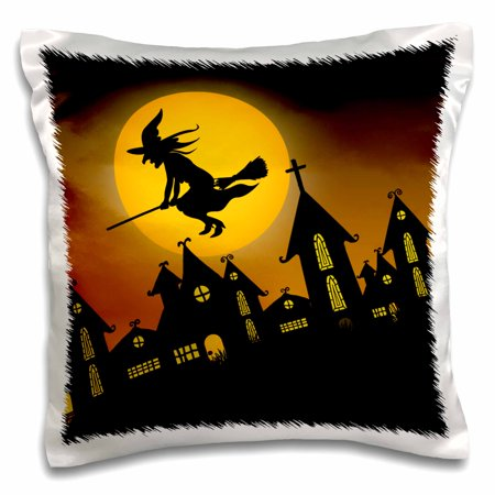 3dRose Spooky Halloween town with flying witch, Pillow Case, 16 by 16-inch (Halloween Town Full Film)