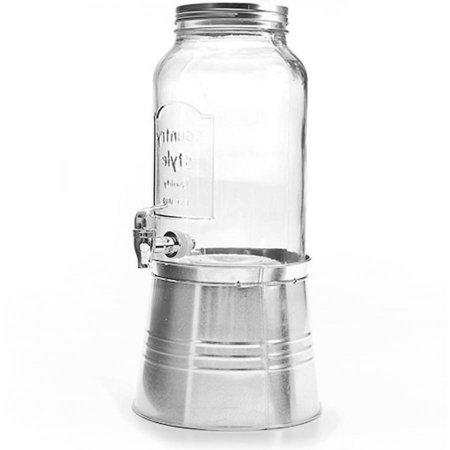 Chrome Jars (Circle Glass Sun Tea Jar 192 Oz 1.5 Gal. Plastic 9.5