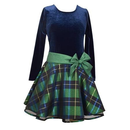 Bonnie Jean Plaid Dress - Bonnie Jean Girls Navy Green Plaid Bow Dress 10