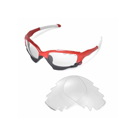 ffd4dfafd44 Walleva Clear Vented Replacement Lenses for Oakley Racing Jacket Sunglasses
