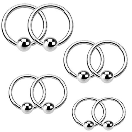 BodyJ4You 16 Gauge Captive Bead Ring Kit Stainless Steel 8 Pieces - Gauge Colorful Captive Bead Rings