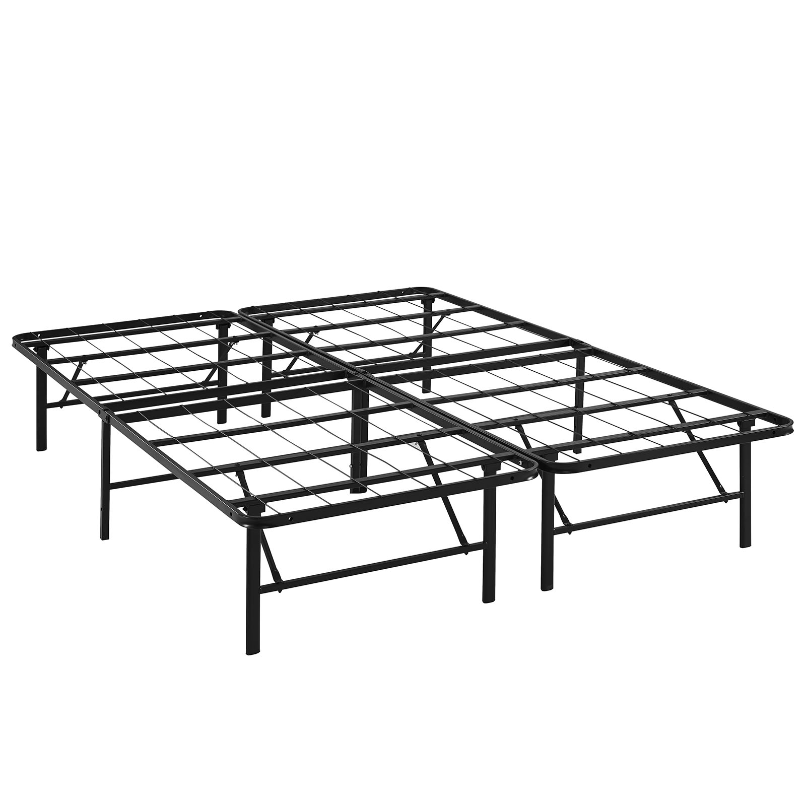 Modern Contemporary Urban Design Bedroom Queen Size Platform Bed Frame, Brown, Metal Steel
