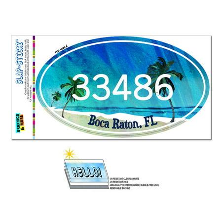 33486 Boca Raton, FL - Tropical Beach - Oval Zip Code Sticker (Boca Raton)