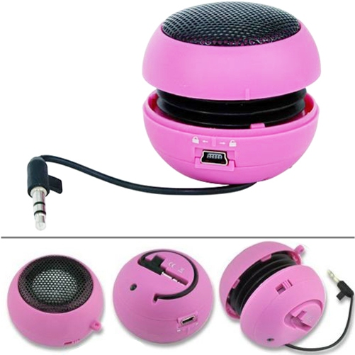 Wired Portable Loud Speaker Pink Multimedia Audio System w Built-in Battery for Ipod Nano 7th Gen 5th Gen, iPhone 6S Plus 6 Plus 5S, iPad Pro 9.7 12.9, Mini 4 3 2, Air 2