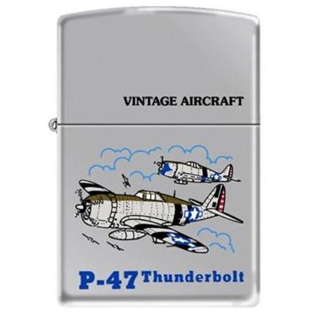 Vintage High Polish Chrome Lighter - Vintage WWII Aircraft P-47 High Polished Chrome Zippo Lighter