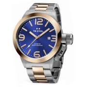 Mens XXL Stainless Steel Case Canteen Bracelet Blue Dial Two-tone Watch - CB142