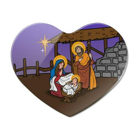 Nativity Scene Baby Jesus Mary Joseph Christmas Christian Bible Heart Acrylic Fridge Refrigerator Magnet Heart Fridge Magnet