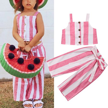 2PCS Toddler Kids Baby Girl Summer Clothes Stripe Tops Crops Pants Leggings Outfits
